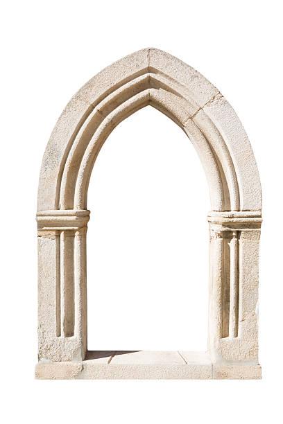 original gothic door isolated on white background - boog architectonisch element stockfoto's en -beelden