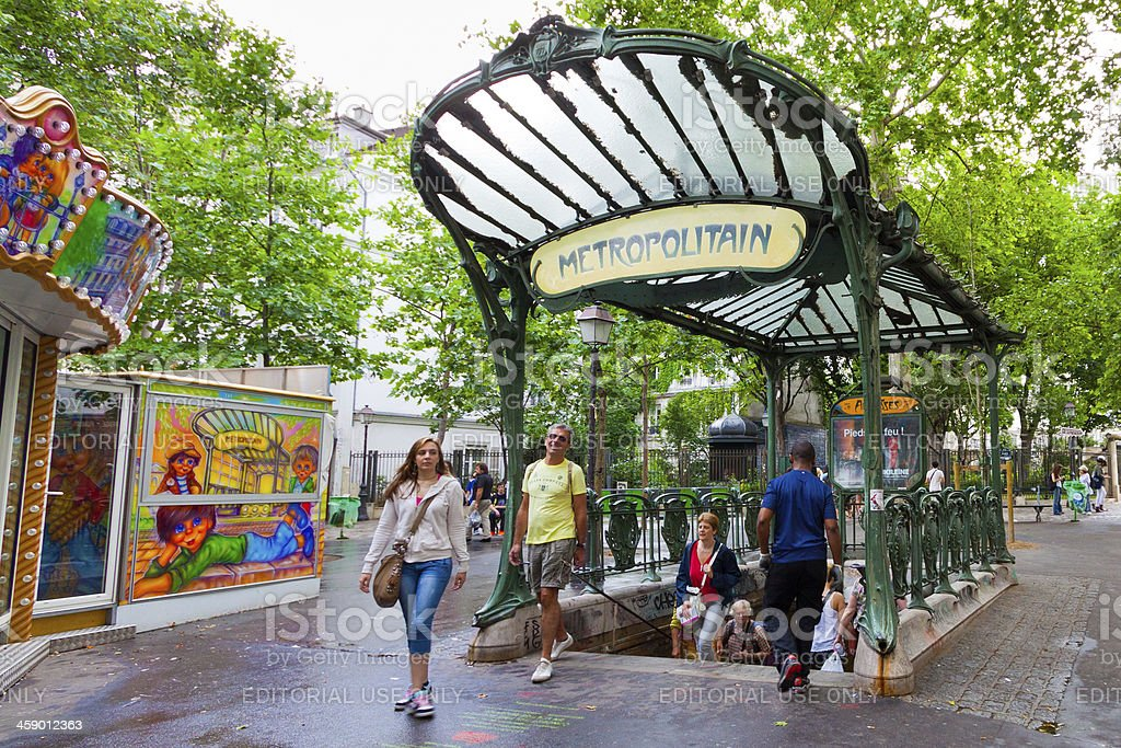 Original Guimard style Metro station in Monmartre, Paris. royalty-free stock photo