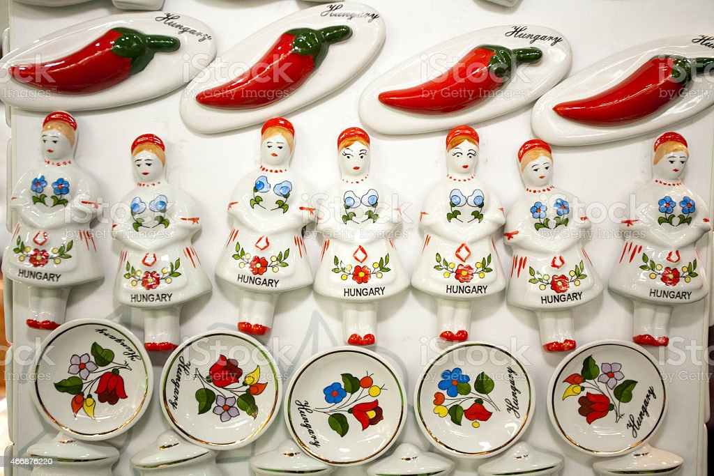 Original hungarian gifts handmade porcelain fridge magnet stock photo