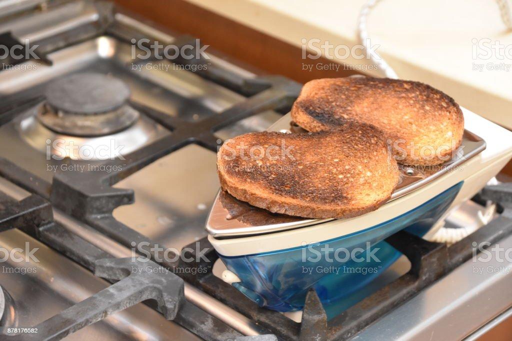 Original improvisation, Cooking on an iron stock photo
