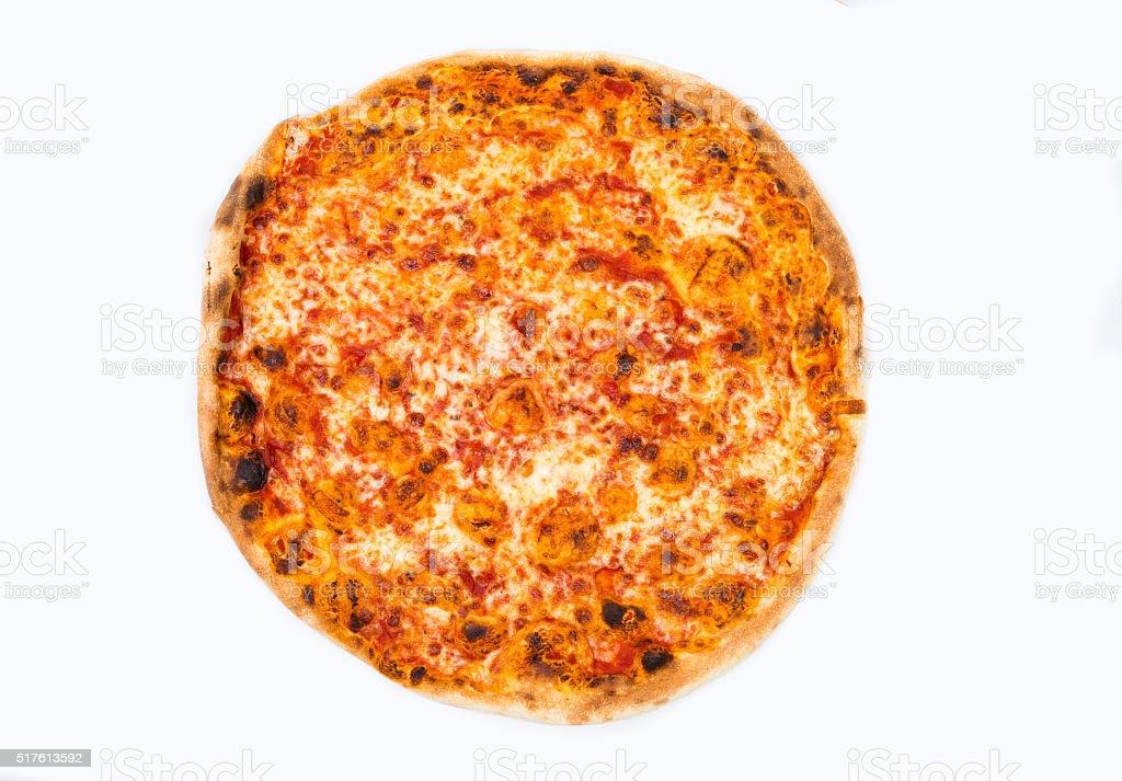 Original Italian Pizza 'Margherita' isolated on white. stock photo