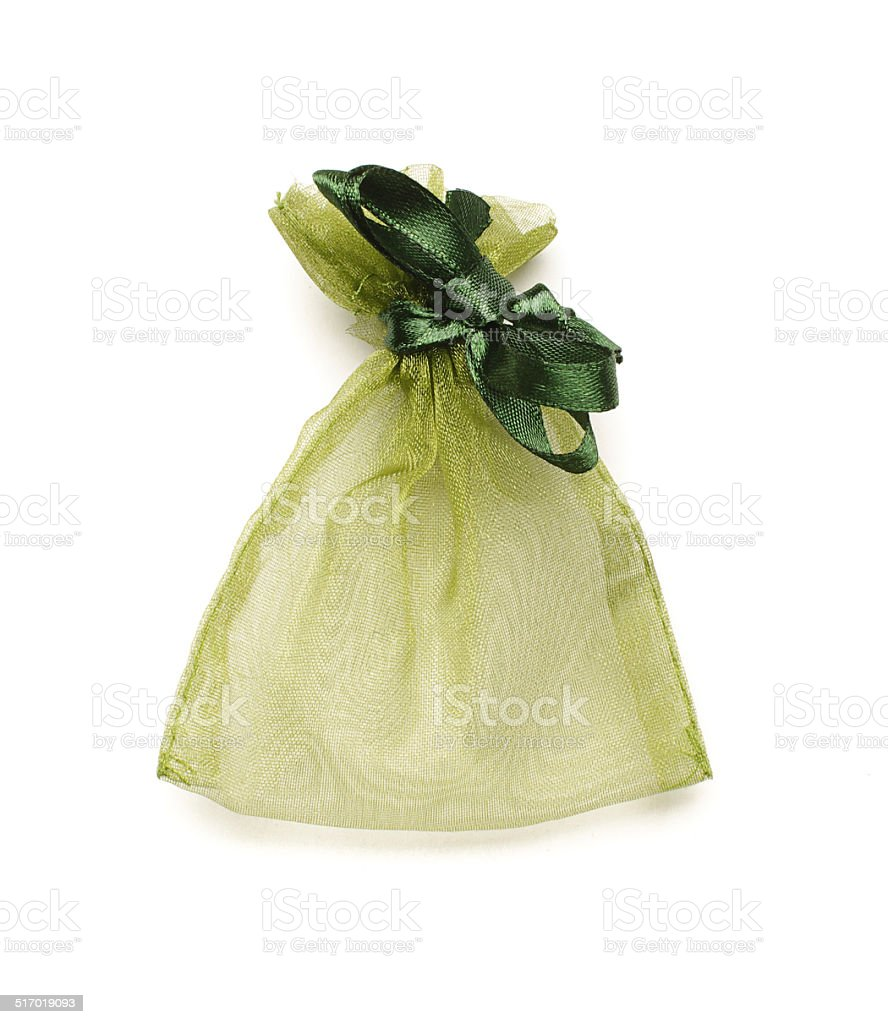 Original jewelry packing bag isolated stock photo