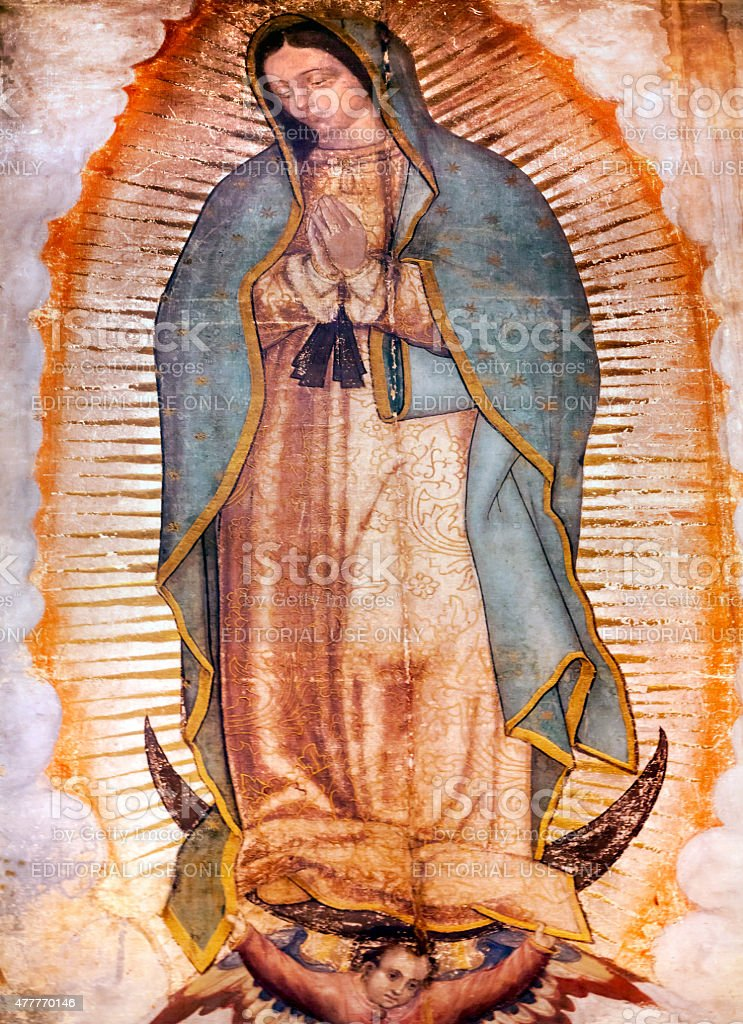 Original Mary Guadalupe Painting New Basilica Mexico City Mexico stock photo