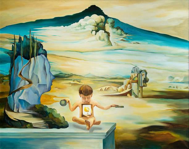 original oil painting based on salvador dali - surrealistyczny zdjęcia i obrazy z banku zdjęć
