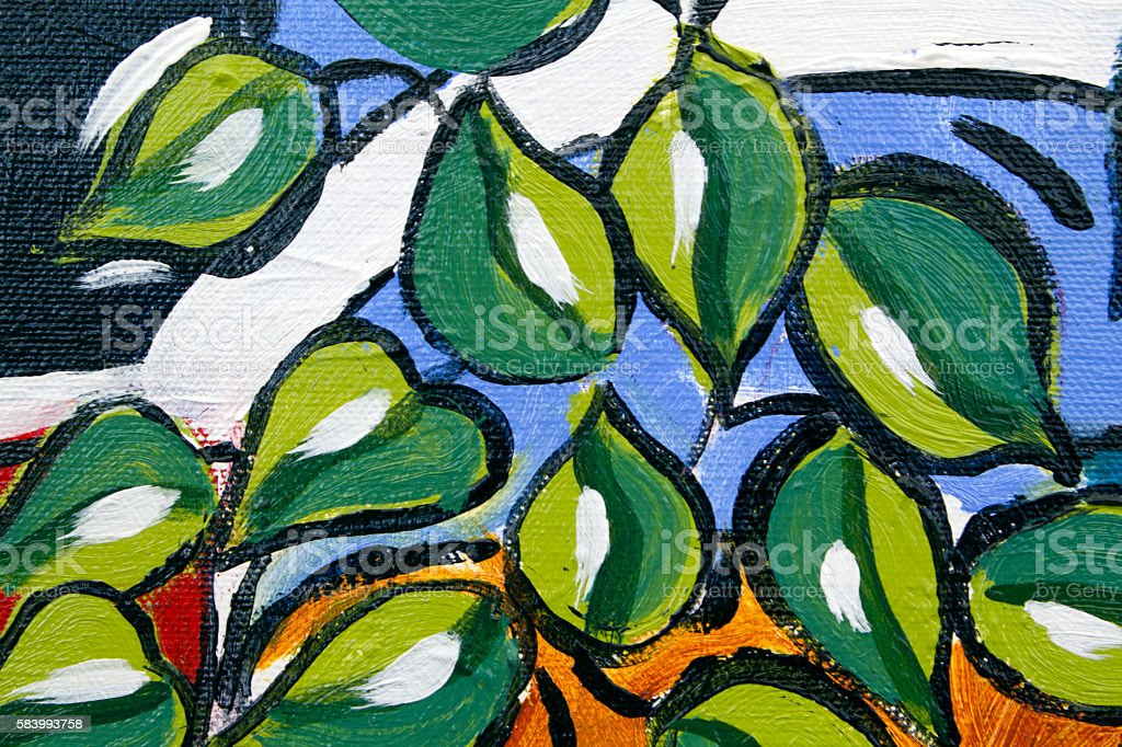 Original oil painting close up detail - leaves stock photo