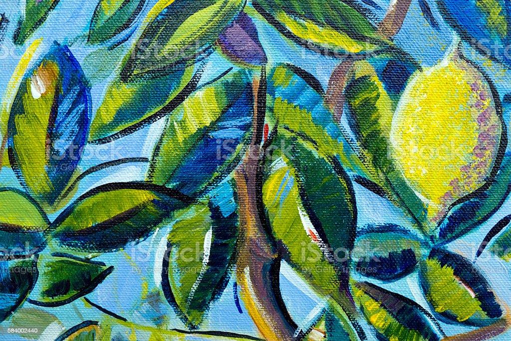 Original oil painting close up detail - lemon tree stock photo