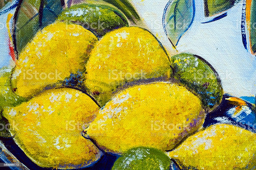 Original oil painting close up detail - lemons and limes stock photo