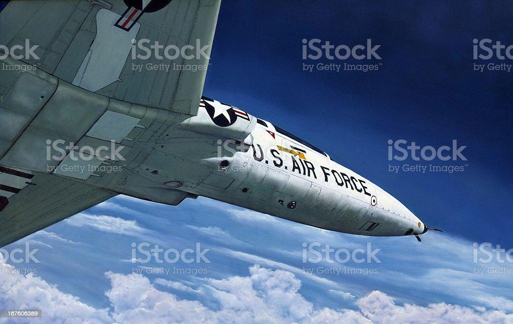 """Original Oil Painting of """"Talon"""" in flight. Original Oil Painting of a  USAF T-38 jet. Adventure Stock Photo"""
