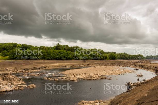 Photo of Original river channel and gravel bars exposed due to draining Earlstoun Dam