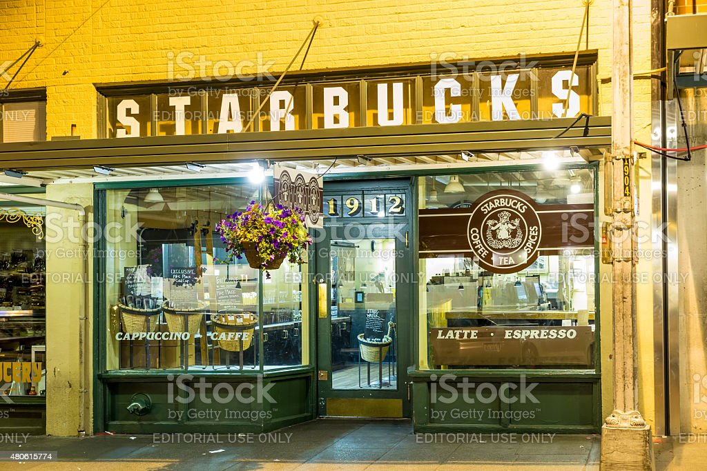 Original Starbucks store at 1912 Pike Place stock photo
