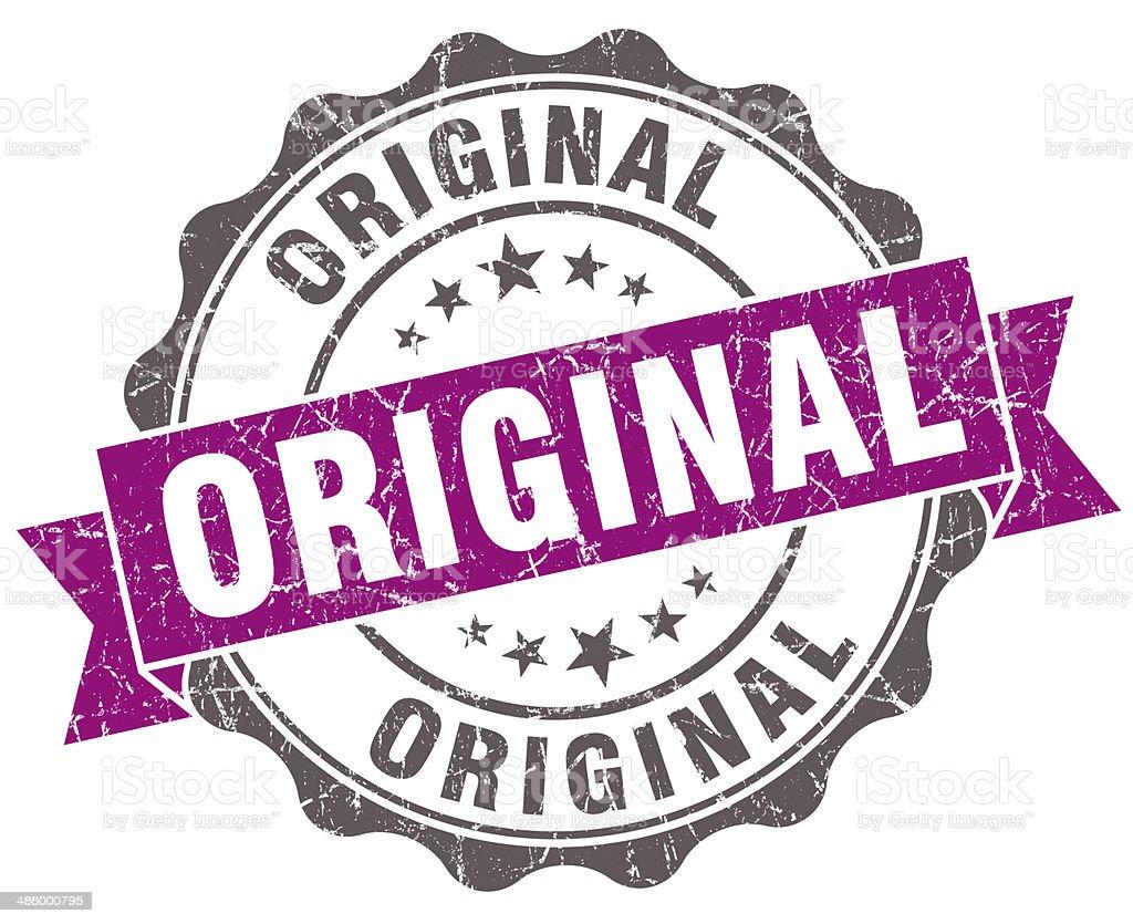Original violet grunge retro style isolated seal stock photo