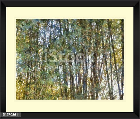 istock Original watercolor painting of abstract bamboo forest 515703611