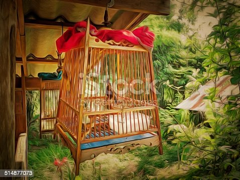 Original watercolor painting of decor with wooden bird cage, art background illustration for home decoration