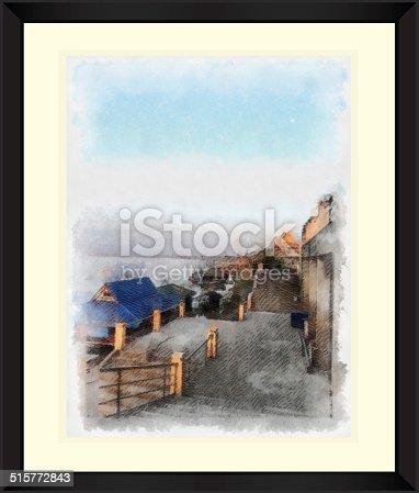 istock Original watercolor painting of harbor at riverside 515772843