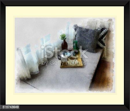 1090975842 istock photo Original watercolor painting of modern living room 515743649