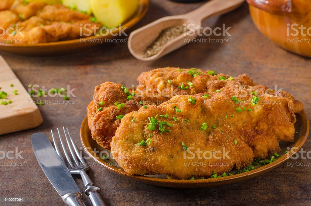 Original Weiner schnitzel stock photo