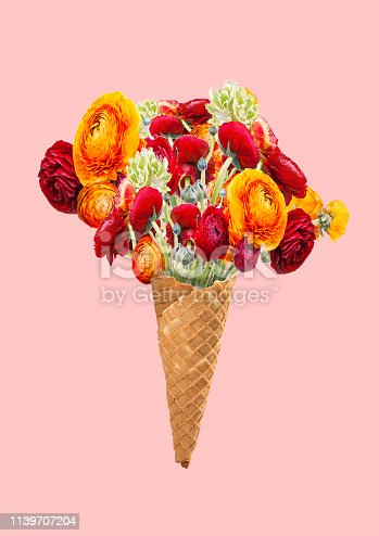 Originality. An alternative flower bouquet. Icecream filled with plants as a cream in waffle cone against trendy coral background. Food or gift concept. Modern design. Contemporary art collage.