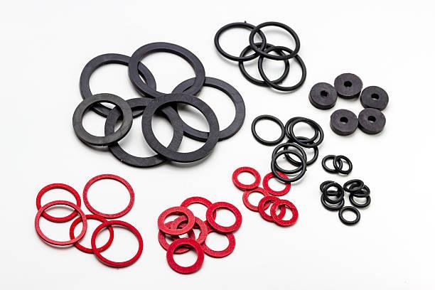 o-ring - materiale gommoso foto e immagini stock