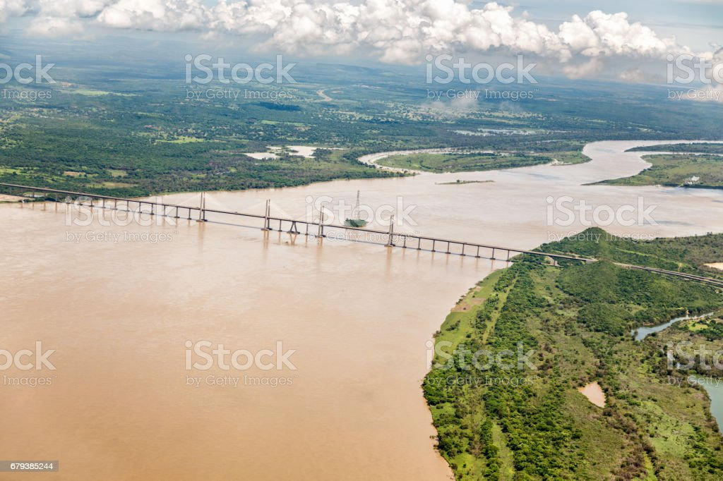 Orinoquia bridge over Orinoco river. Puerto Ordaz, Venezuela stock photo