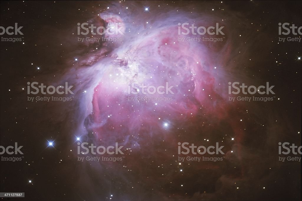 Orion Nebula in space with stars stock photo