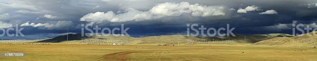 Orkhon Valley Regenzeit in der mongolischen Steppe stock photo