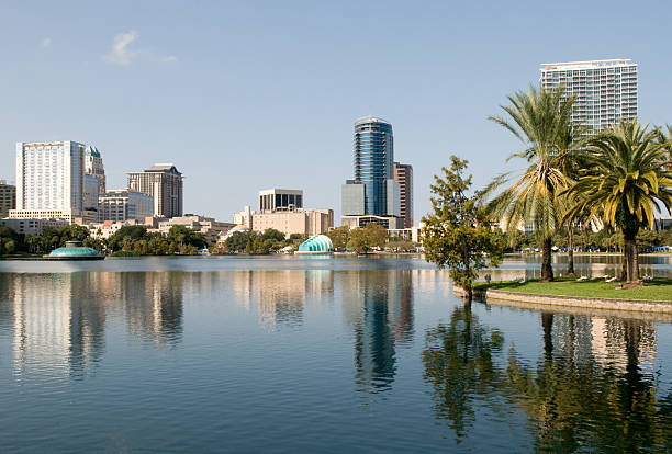 orlando cityscape - orlando florida photos stock photos and pictures