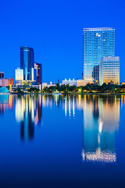 orlando downtown at twilight - orlando florida photos stock photos and pictures