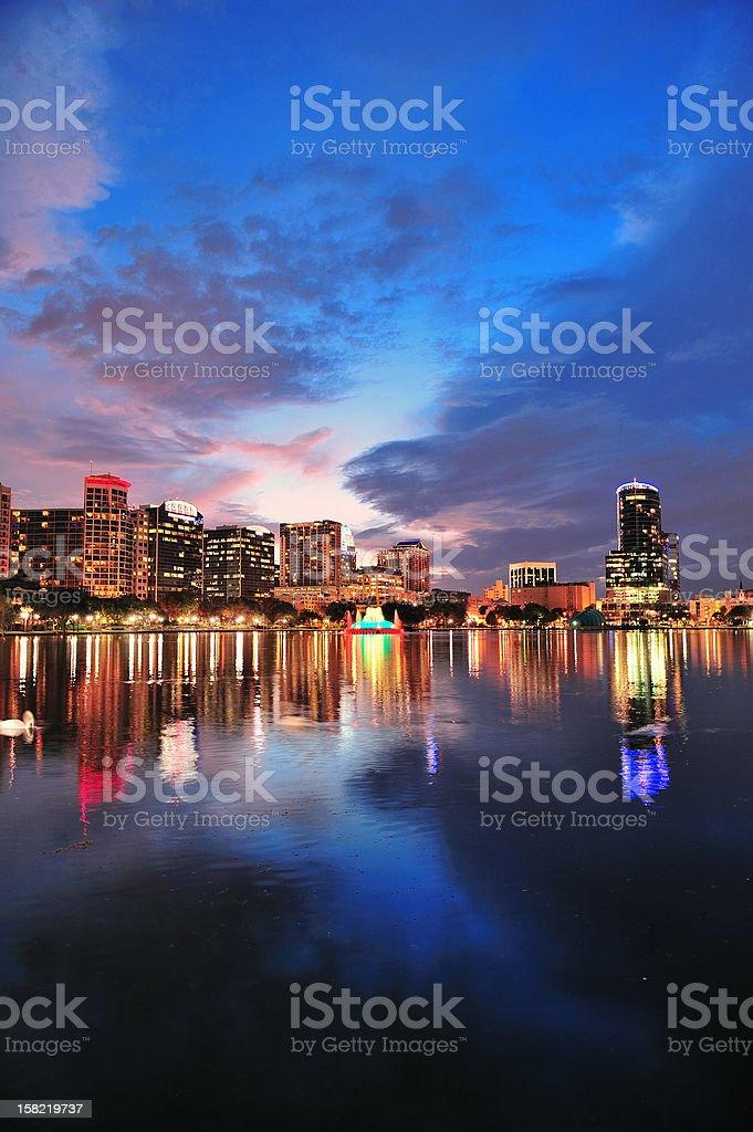 Orlando downtown dusk stock photo