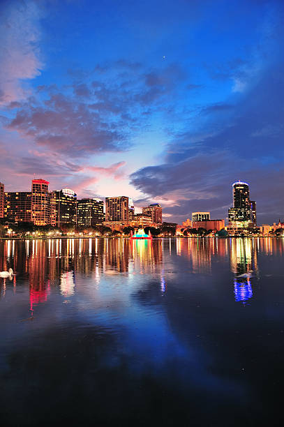 orlando downtown dusk - orlando florida photos stock photos and pictures