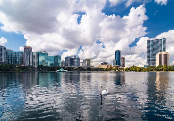 Orlando Downtown Skyline with Lake Eola and Swan stock photo