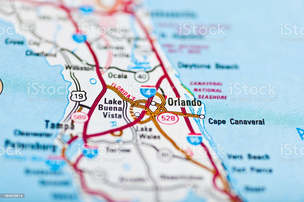 Orlando Fl Map Stock Photo More Pictures Of Backgrounds Istock