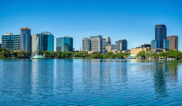 Orlando Florida Downtown Skyline During Springtime Over Lake Eola stock photo