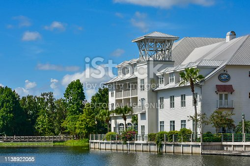 Orlando, Florida. January 15, 2019 . Luxury Hotel, forest and blue lake at Celebration Town in Kissimmee area .