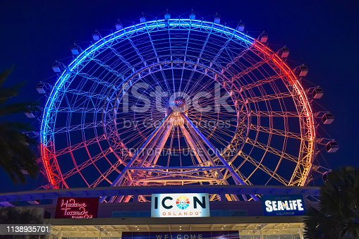 Orlando, Florida. January 19 , 2019 . Top view of Big Wheel on blue night background in International Drive area.