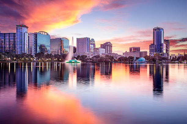 orlando, florida skyline - financial district stock pictures, royalty-free photos & images