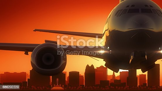 istock Orlando Florida USA America Skyline Sunrise Take Off 686202220