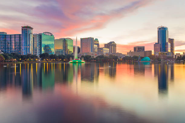 Orlando, Florida, USA downtown city skyline from Eola Park stock photo
