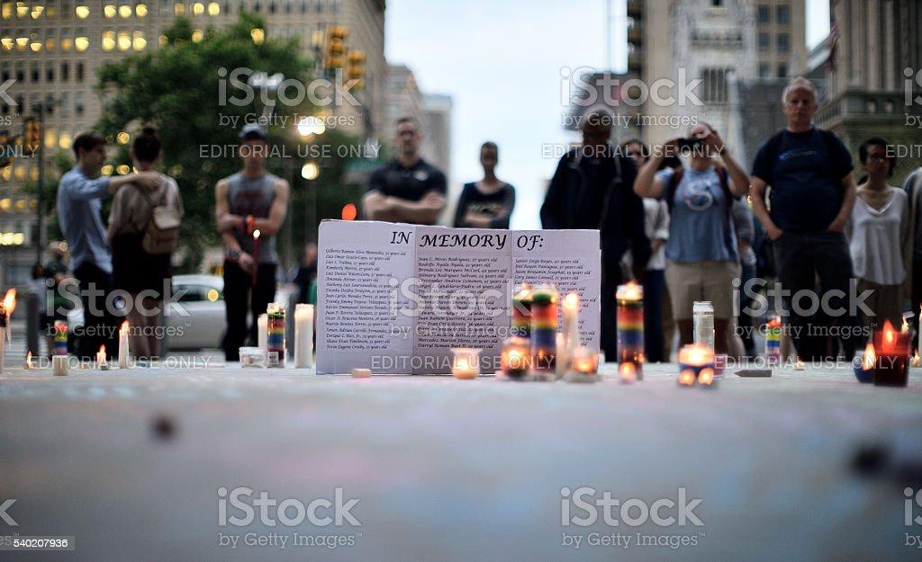 Orlando Massacre Vigil in Philadelphia, Pennsylvania stock photo