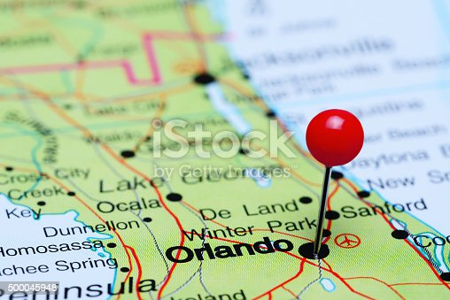 istock Orlando pinned on a map of USA 500045948