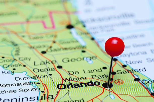 orlando pinned on a map of usa - orlando florida photos stock photos and pictures