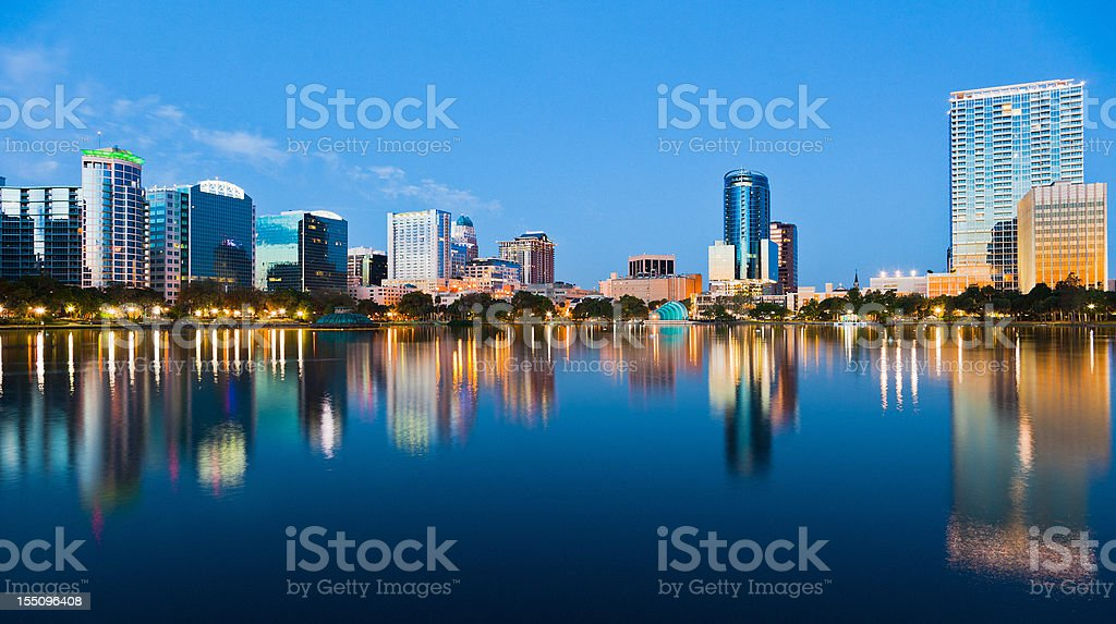 Orlando Skyline at Dusk seen from Lake Eola stock photo