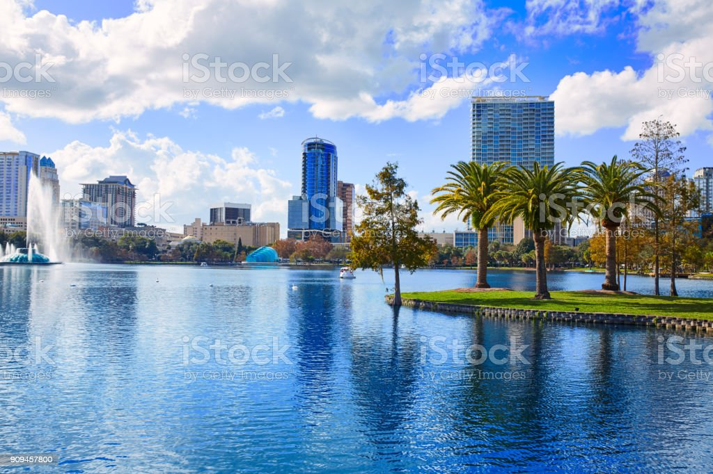 Orlando skyline fom lake Eola Florida US stock photo