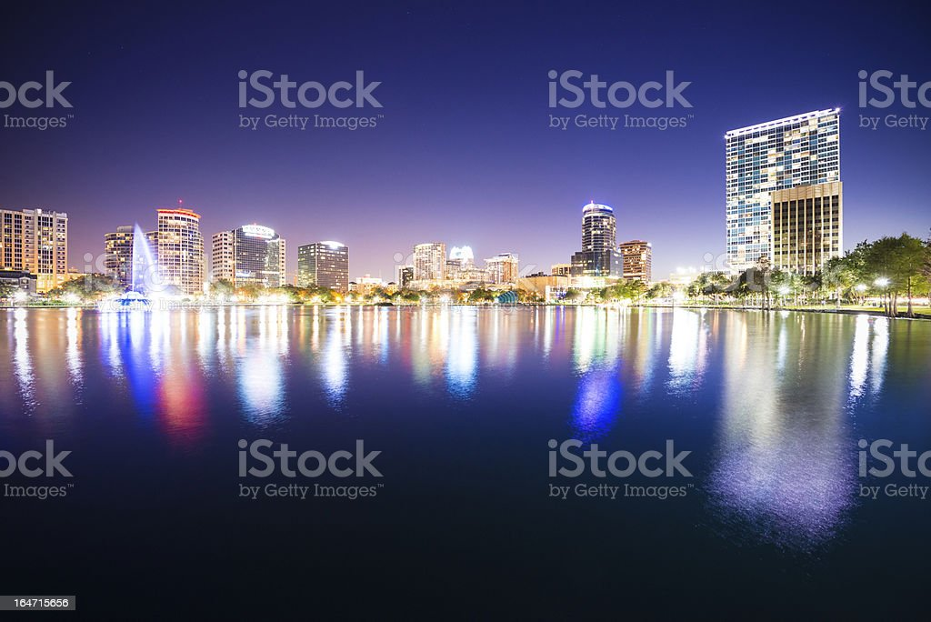 Orlando Skyline Lake Eola royalty-free stock photo
