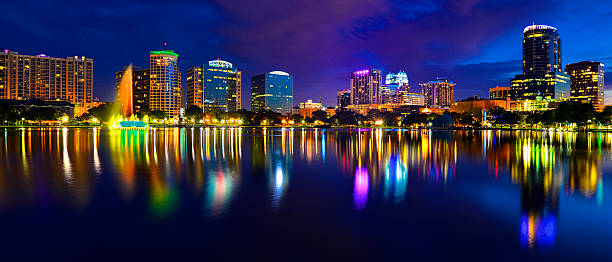 orlando skyline lake eola - orlando florida photos stock photos and pictures
