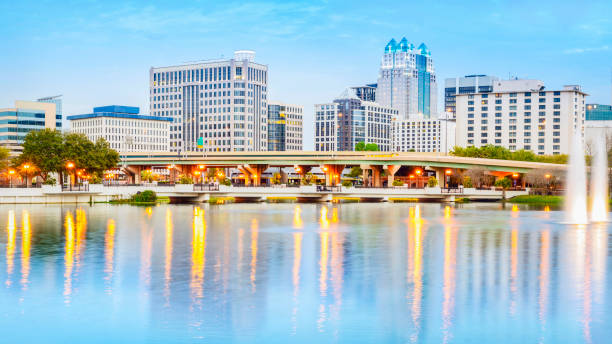 orlando skyline - orlando florida photos stock photos and pictures