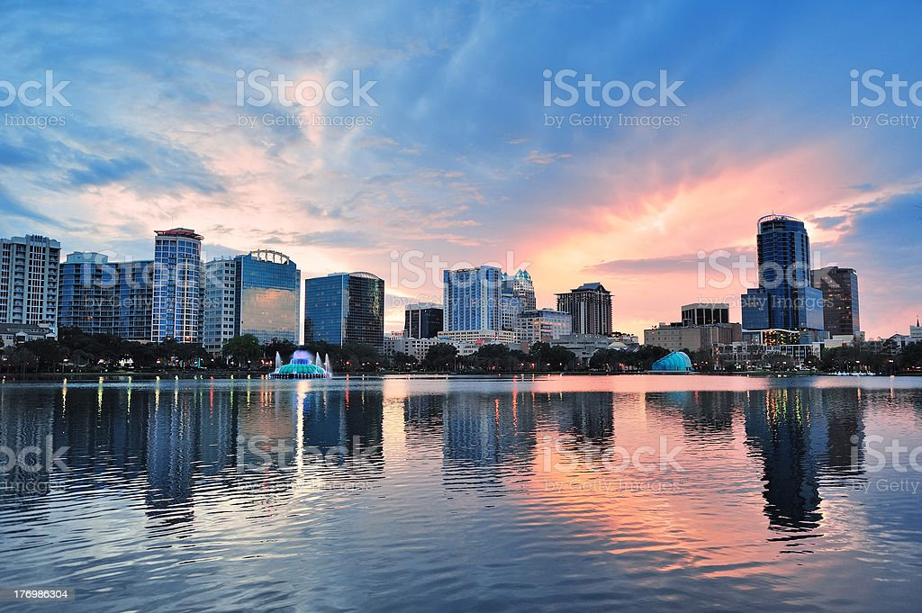 Orlando sunset over Lake Eola stock photo