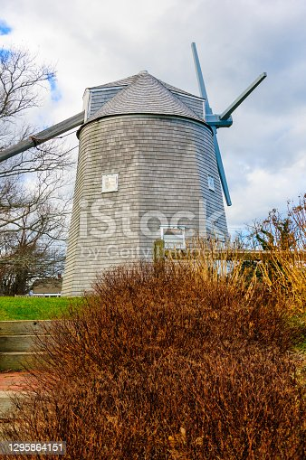 The Johnathan Young Windmill was built about 1720 in South Orleans, Massachusetts, then moved to a hill overlooking  Town Cove. Later it was moved to Hyannis Port until 1980 and finally fully restored and moved to Windmill Park in Orleans.  It operates with original equipment and tours are offered in the summer.