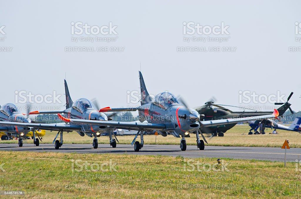Orlik formation on Radom Airshow, Poland stock photo