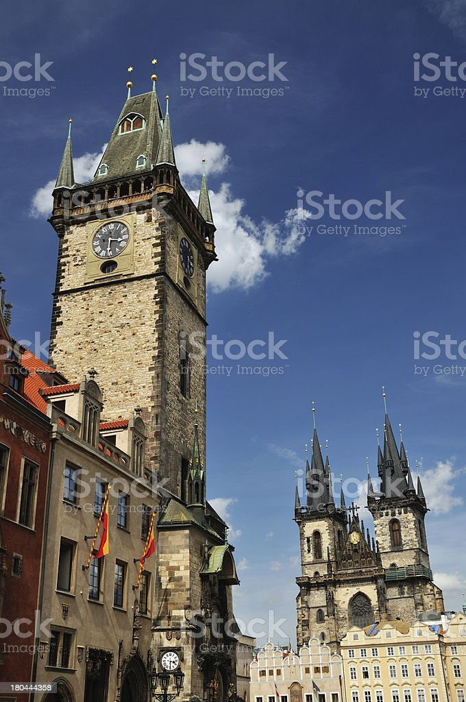 Orloj and Church Mother of God before Tyn royalty-free stock photo