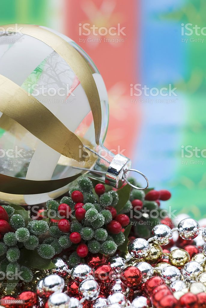 Ornament ball on the garland royalty-free stock photo